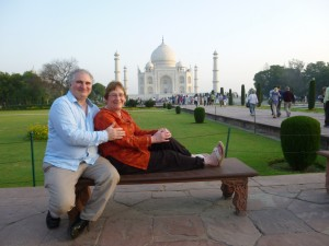 Agra at Rest - Diana Park Bench at the Taj Majal